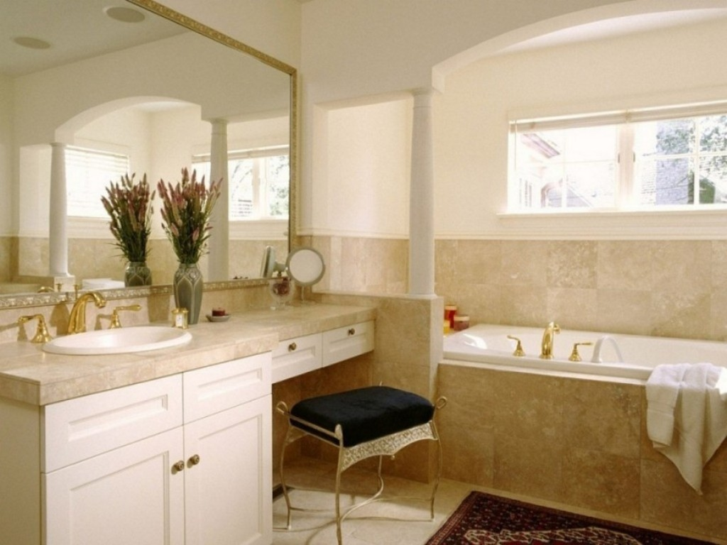 bathroom vanity with stool
